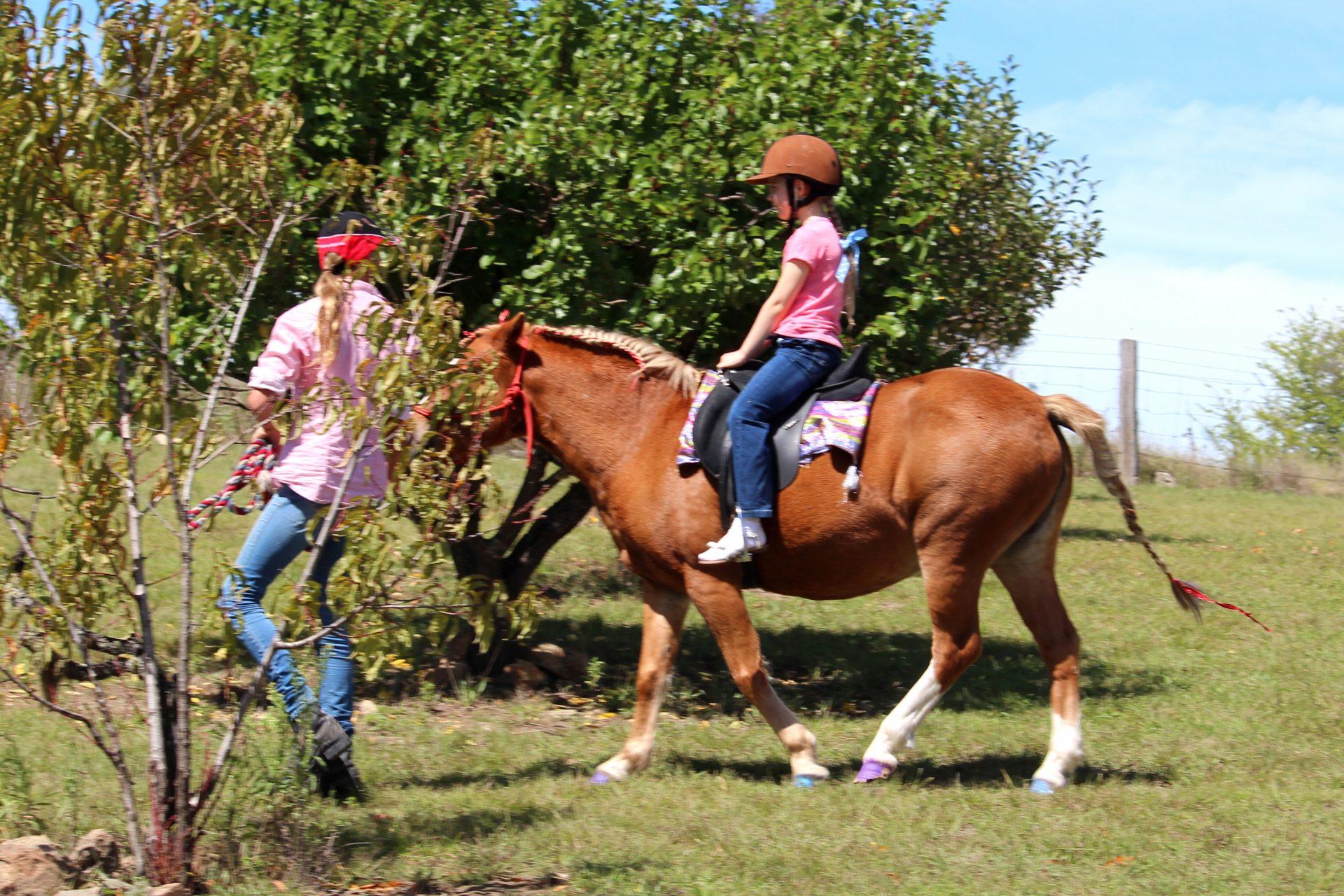 Girl Riding Chestnut Pony