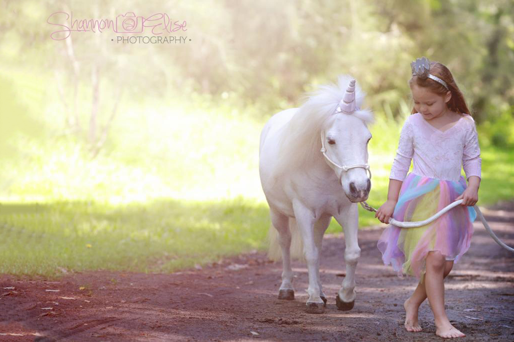 Little Girl Leading A Pony